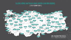 Случаите на КОВИД-19 в Турция по провинции за 100 хил. души на седмична база (от 15 до 21 февруари)